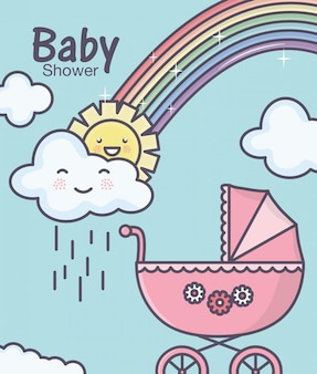 Babyparty rosa kinderwagen rainbowm