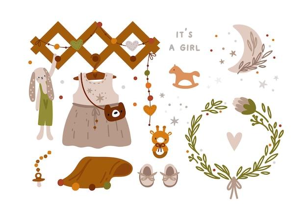 Babyparty-sammlung für mädchen im boho-stil neugeborene wesentliche dinge