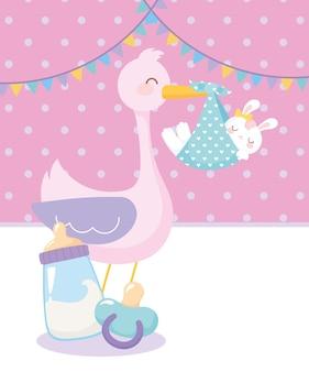 Babyparty, storch mit kaninchen im schnuller und flaschenmilch, feier willkommen neugeborenes