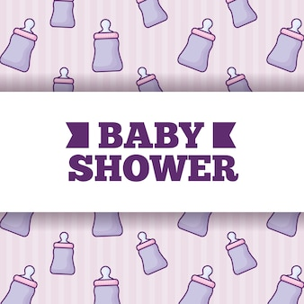 Babyparty über babyflaschenhintergrund