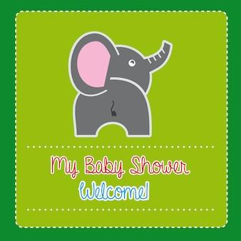 Babyparty über grüner hintergrundvektorillustration