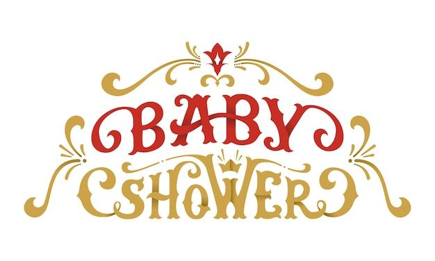 Babypartybeschriftung. handgeschriebene phrase mit wirbeln und schnörkeln.