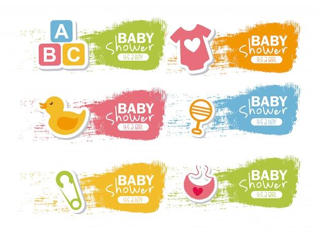 Babypartydesign über weißer hintergrundvektorillustration