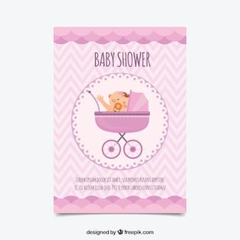 Babypartyeinladung in der flachen art