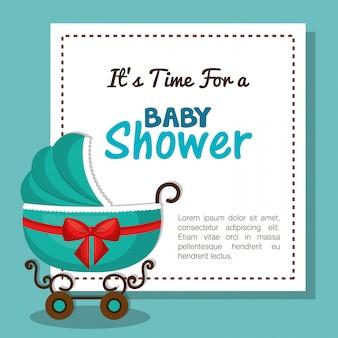 Babypartyeinladungskarte mit blauer auslegung des wagens