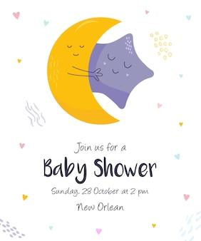 Babypartyeinladungskarte mit süßem mond und stern. vertikales banner mit süßen charakteren