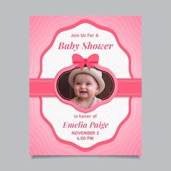 Babypartyeinladungsschablone mit foto (mädchen)