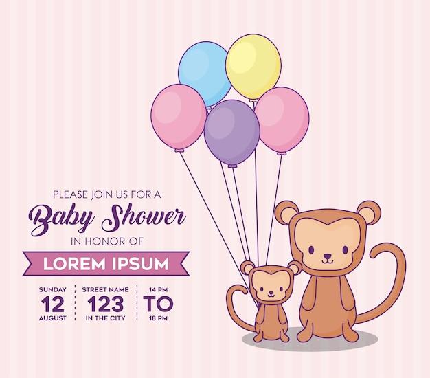 Babypartyeinladungsschablone mit netten affen mit bunten ballons über rosa hintergrund, vektor