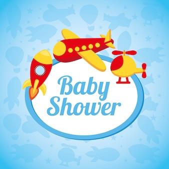 Babypartyentwurf über blauer hintergrundvektorillustration
