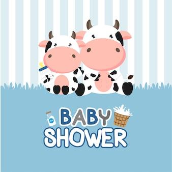 Babypartygrußkarte mit kleiner kuh