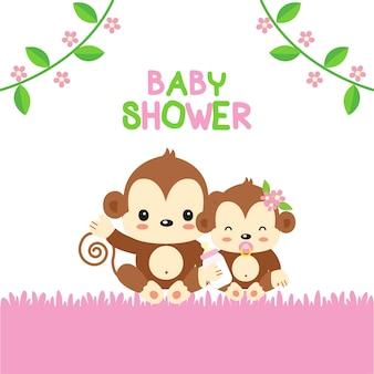 Babypartygrußkarte mit mutter- und babyaffe.