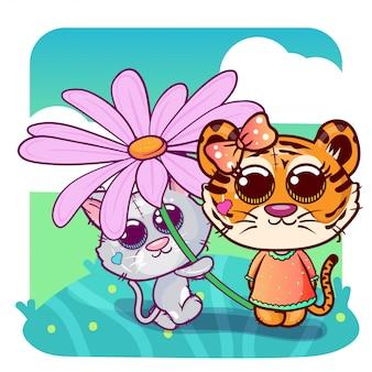 Babypartygrußkarte mit netter tiger- und katzenkarikatur - vektor