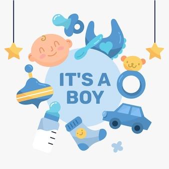 Babypartyjungenhintergrund mit spielzeug