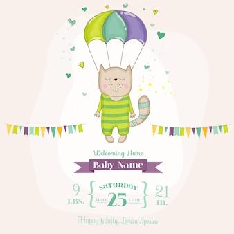 Babypartykarte katze fliegt mit einem fallschirm
