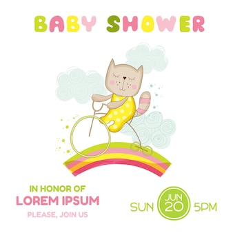 Babypartykarte mädchen katze auf einem fahrrad