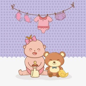 Babypartykarte mit baby des kleinen mädchens