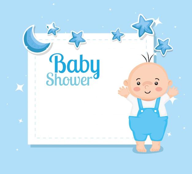 Babypartykarte mit baby und dekoration