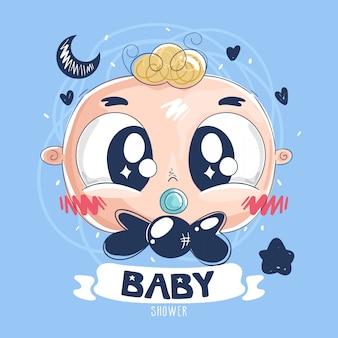 Babypartykarte mit babygesicht