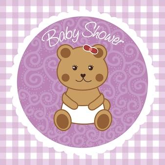 Babypartykarte mit bär über violettem hintergrundvektor