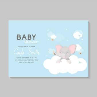 Babypartykarte mit elefantenbaby auf einer wolke.