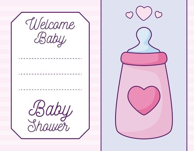 Babypartykarte mit flaschenmilch