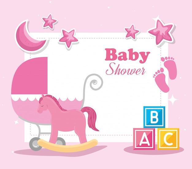 Babypartykarte mit hölzernem pferd und elementillustration