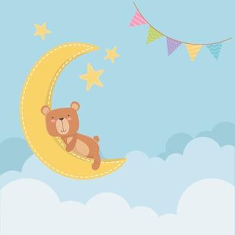 Babypartykarte mit kleinem bären im mondschlafen