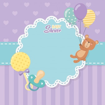 Babypartykarte mit kleinem bärenteddy und ballonhelium