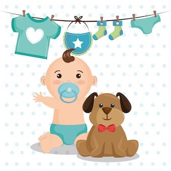 Babypartykarte mit kleinem jungen