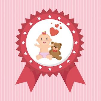 Babypartykarte mit kleinem mädchen