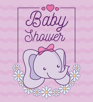 Babypartykarte mit kopf des netten elefanten