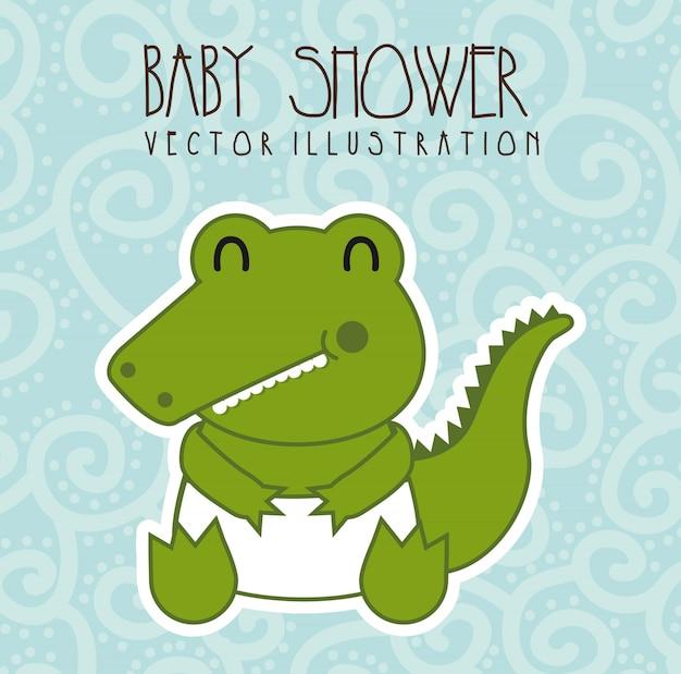 Babypartykarte mit krokodil über blauem hintergrundvektor
