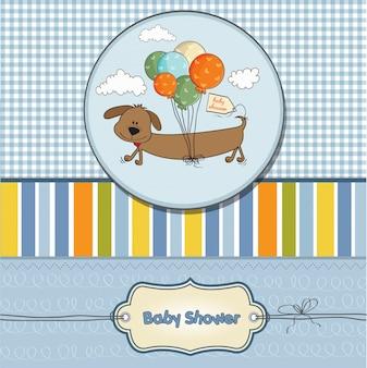 Babypartykarte mit langem hund und ballonen