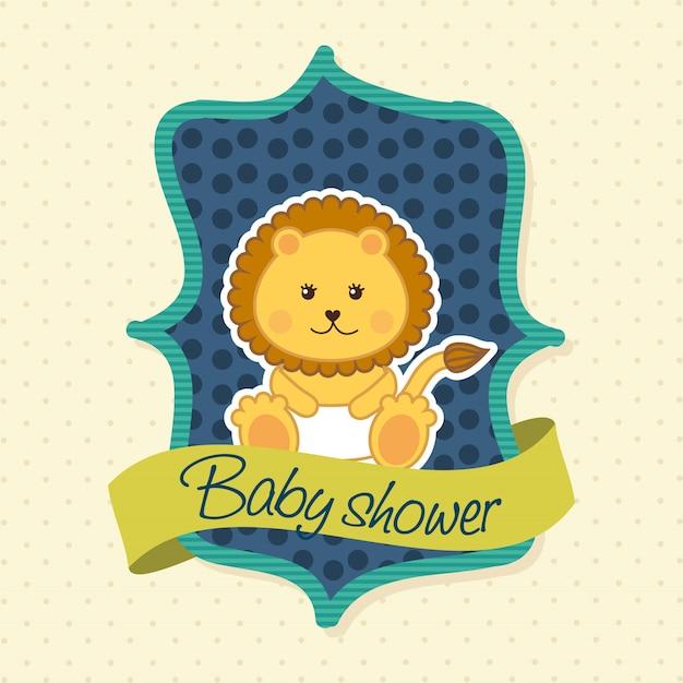Babypartykarte mit löwe über blauem hintergrundvektor