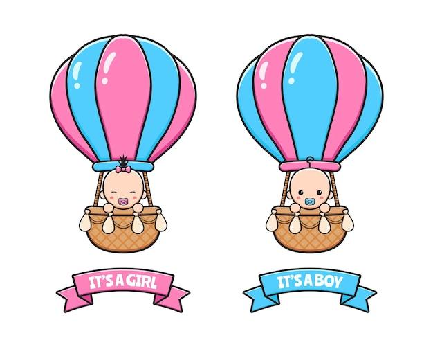 Babypartykarte mit niedlichem baby, das heißluftballonkarikaturikonenillustration flaches karikaturartdesign reitet