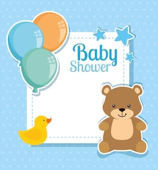 Babypartykarte mit niedlichem bären und dekoration