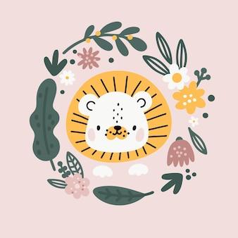 Babypartykarte mit süßem kleinen löwenbaby im floralen runden kranz