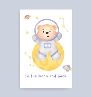 Babypartykarte mit süßem teddybär auf dem mond