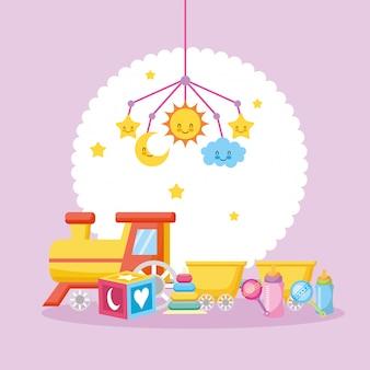 Babypartykarte mit zugspielzeug