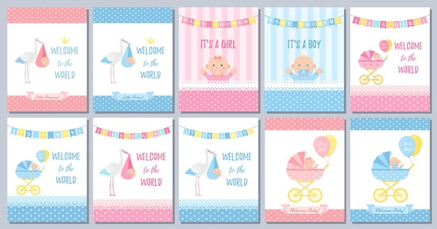 Babypartykarte. nette rosa blaue schabloneneinladung. karikaturillustration