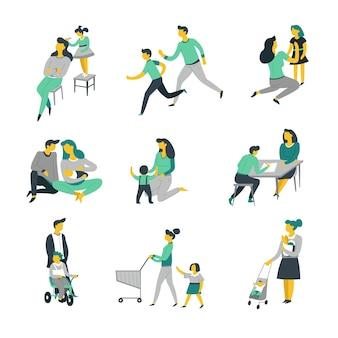 Babypflege, die kindereltern und kinder isolierte charaktere erzieht vektor mutter und vater, tochter und sohn, die neugeboren spielen und sport treiben, sich verkleiden und hausaufgaben machen und elternschaft einkaufen shopping