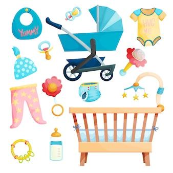 Babypflegezubehör-karikaturaufkleber eingestellt. kinderwagen, wiege, säuglingskleidung sammlung.