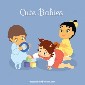 Babys krabbeln und spielen