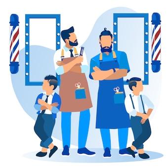Babys mit coolem haarschnitt, der friseursalon besucht