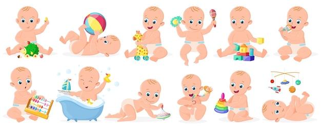 Babys spielen. nettes säuglingsbaby oder -mädchen, das mit ball-, pyramiden- und bootsvektorillustrationssatz spielt. fröhliche aktivität für kleinkinder. säuglingsmädchen- und jungenkarikaturspiel und aktiv mit ball