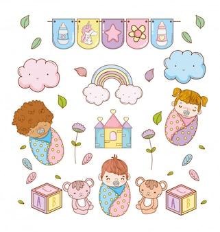 Babys und niedliche spielzeugdekoration zur babyparty