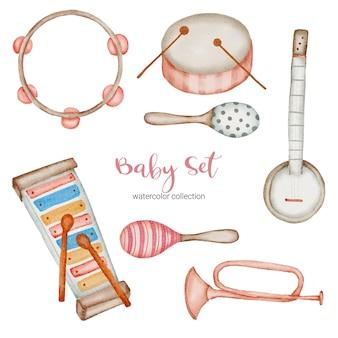 Babysachen set von musikinstrumenten