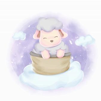 Babyschaf auf den wolken