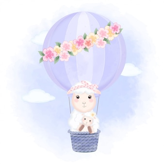 Babyschaf und mutter, die auf hand gezeichnete karikaturillustration des heißluftballons schwimmt