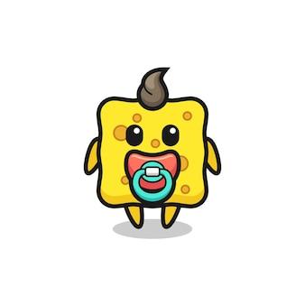 Babyschwamm-cartoon-figur mit schnuller, süßes design für t-shirt, aufkleber, logo-element